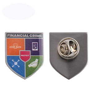 financial crime epoxy lapel pin
