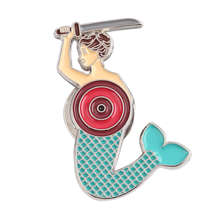 Fashion mermaid Girls Women Badges Custom Enamel lapel pin